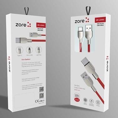 Lopard ZR-LS411 Type-C Usb C Hızlı Kablo Yassı Halat Örgülü Metal Başlık Renkli